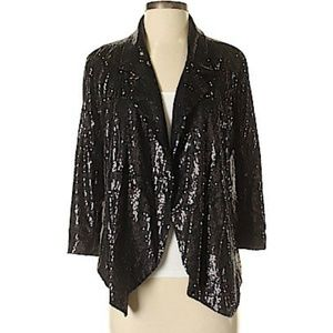 INC Black Sequin Blazer Jacket Sz 5